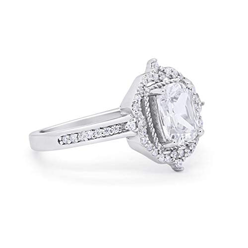 Halo Cut Wedding Ring Round Simulated Cubic Zirconia 925 Sterling Silver