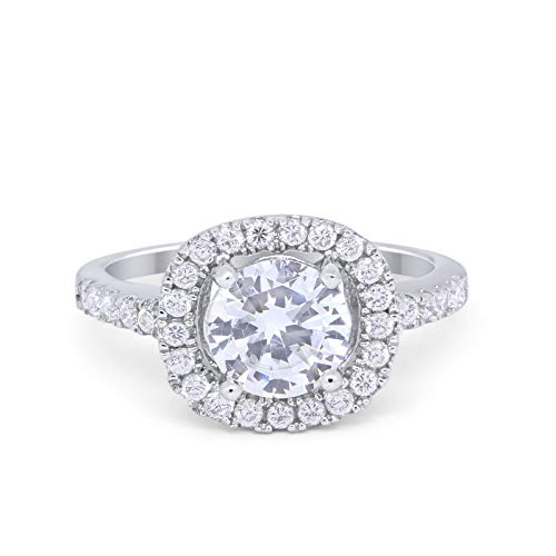 Solitaire Accent Halo Wedding Ring Round Simulated CZ 925 Sterling Silver