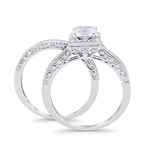 Halo Princess Cut Engagement Ring Simulated CZ 925 Sterling Silver