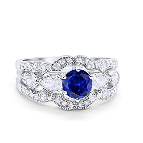 Three Piece Bridal Wedding Promise Ring Simulated Blue Sapphire CZ 925 Sterling Silver