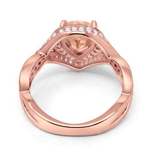 Teardrop Engagement Bridal Ring Rose Tone, Simulated Morganite CZ 925 Sterling Silver