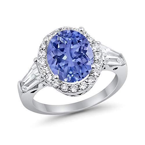 Halo Fashion Ring Baguette Simulated Tanzanite CZ 925 Sterling Silver