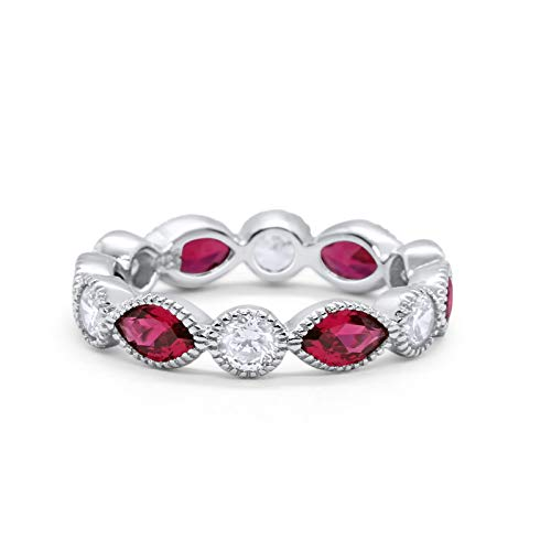Eternity Style Ring Marquise Round Simulated Ruby CZ 925 Sterling Silver