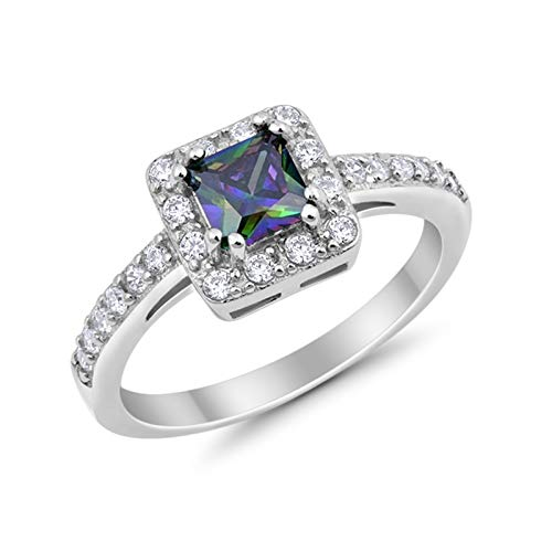 Halo Engagement Ring Princess Cut Simulated Rainbow CZ 925 Sterling Silver