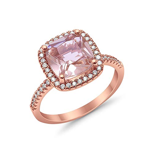925 Sterling Silver Rose Tone, Simulated Morganite Cubic Zirconia Cushion Cut Ring