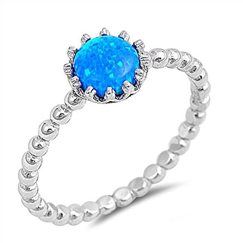 Solitaire Fashion Bead Ball Band Ring Round Lab Created Blue Opal 925 Sterling Silver