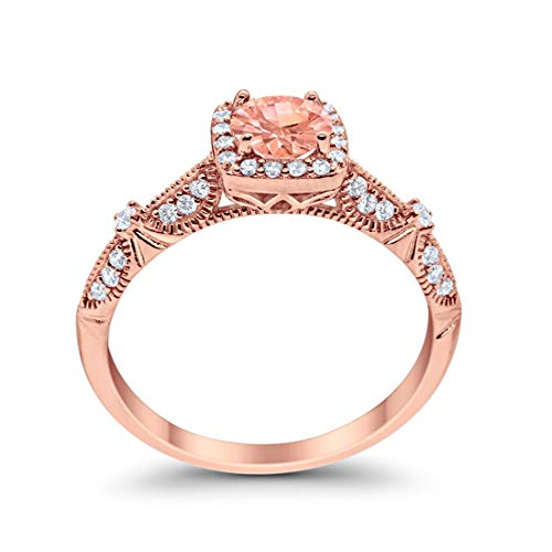 Halo Engagement Bridal Ring  Rose Tone, Simulated Morganite CZ 925 Sterling Silver