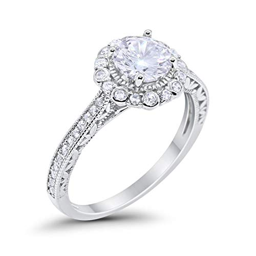 Filigree Engagement Bridal Ring Simulated Cubic Zirconia 925 Sterling Silver