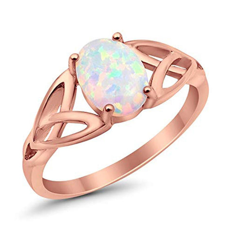 Celtic Shank Solitaire Ring Rose Tone Lab Created White Opal 925 Sterling Silver