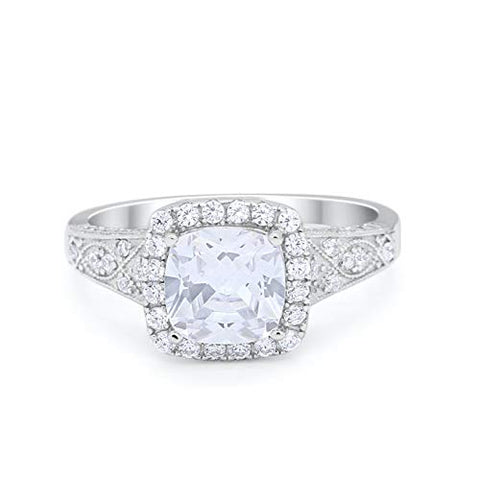 Cushion Wedding Bridal Ring Round Simulated Cubic Zirconia 925 Sterling Silver