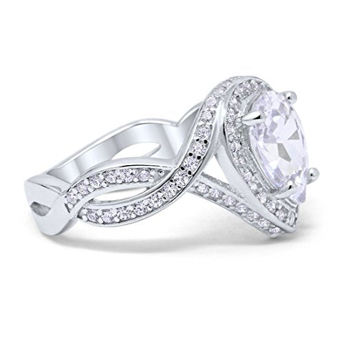 Teardrop Engagement Bridal Ring Simulated CZ 925 Sterling Silver
