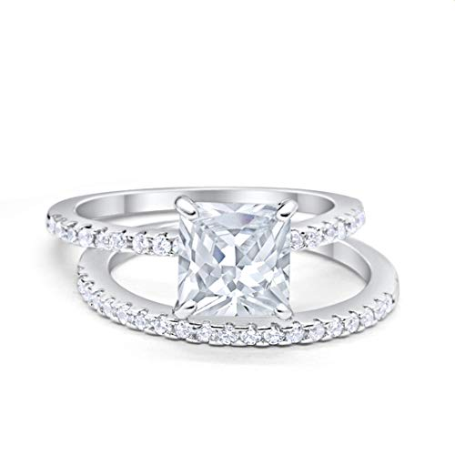 Two Piece Engagement Ring Asscher Cut Simulated CZ 925 Sterling Silver