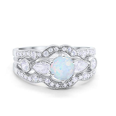 Three Piece Bridal Wedding Promise Ring Lab White Opal 925 Sterling Silver