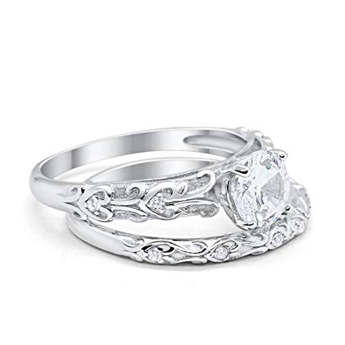 Art Deco Bridal Set Engagement Ring Piece Simulated Cubic Zirconia 925 Sterling Silver