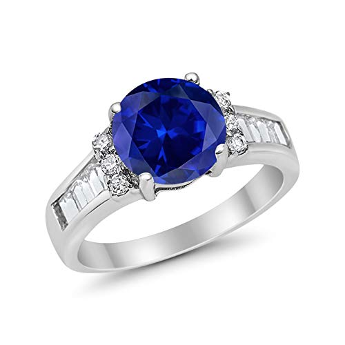 Engagement Baguette Stone Ring Simulated Blue Sapphire CZ 925 Sterling Silver
