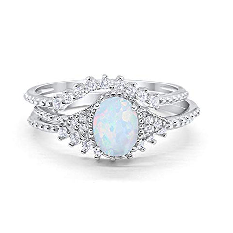 Three Piece Bridal Set Oval Round Lab White Opal Wedding Ring 925 Sterling Silver