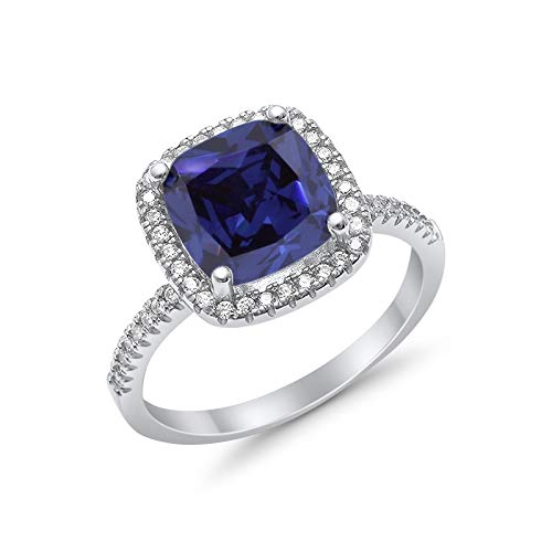 Halo Cushion Engagement Ring Simulated Blue Sapphire CZ  925 Sterling Silver