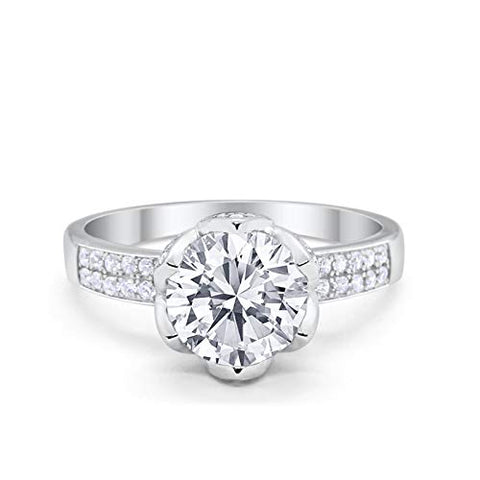 Art Deco Flower Engagement Ring Round Simulated Cubic Zirconia 925 Sterling Silver