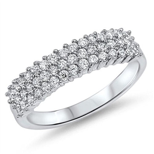 Half Eternity Band Round Cubic Zirconia 925 Sterling Silver Engagement Ring