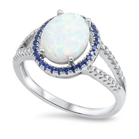 Oval White Opal & Sapphire Halo .925 Sterling Silver Ring Sizes 5-10
