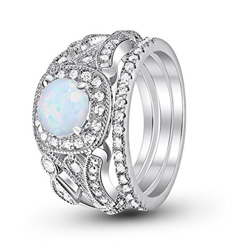 Eternity Three Piece Engagement Ring Lab White Opal 925 Sterling Silver