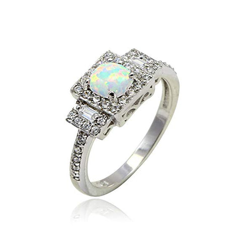 Halo Filigree Ring Princes Cut Created White Opal Round CZ 925 Sterling Silver