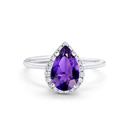 Teardrop Pear Wedding Engagement Ring Simulated Amethyst CZ 925 Sterling Silver 17693-RC3489-AM