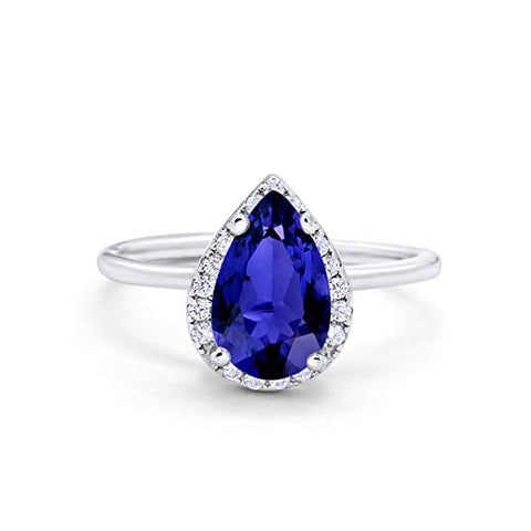 Teardrop Pear Wedding Engagement Ring Simulated Blue Sapphire CZ 925 Sterling Silver