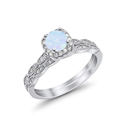 Halo Wedding Bridal Ring Band Set Lab White Opal Simulated CZ Sterling Silver