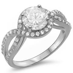 Halo Split Shank Round Simulated Cubic Zirconia Engagement Ring 925 Sterling Silver