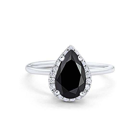 Teardrop Pear Wedding Ring Simulated Black CZ 925 Sterling Silver