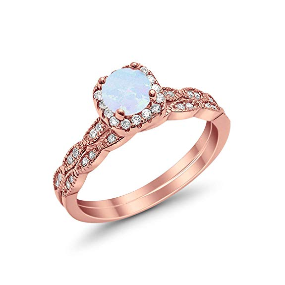 Halo Wedding Bridal Ring Band Set Rose Tone, Lab White Opal Simulated CZ Sterling Silver 17348-wo-RG