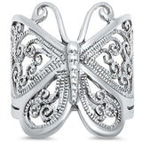 Filigree Design Butterfly Fashion Ring 925 Sterling Silver