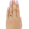 Floral Art Engagement Ring Simulated Green Emerald CZ 925 Sterling Silver