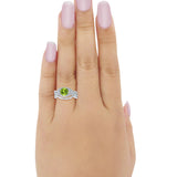 Three Piece Wedding Ring Simulated Peridot CZ 925 Sterling Silver