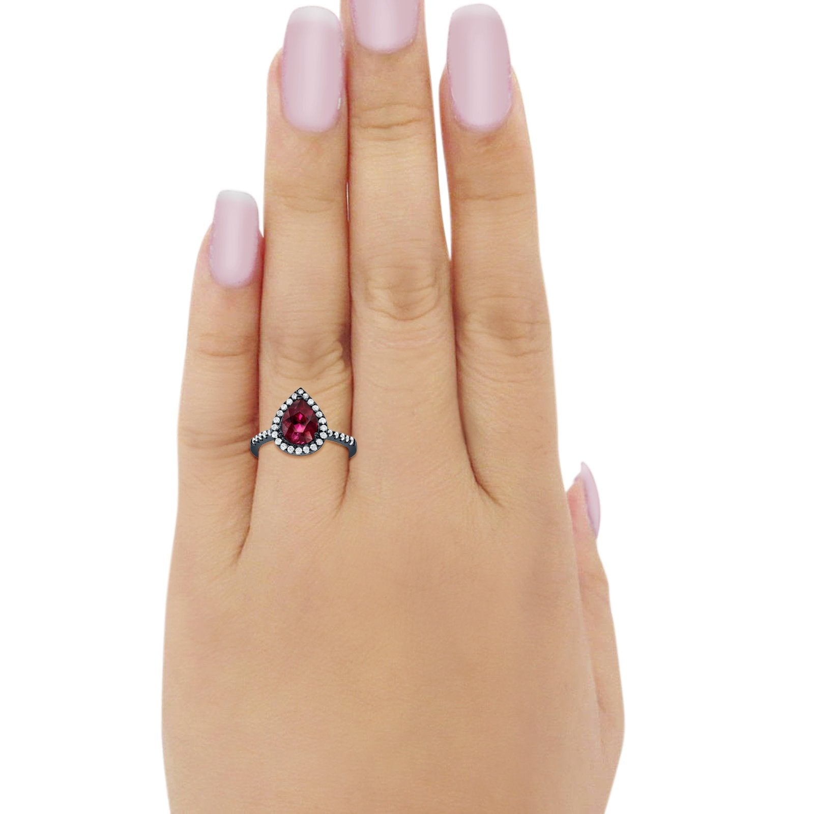 Halo Teardrop Ring Pear Black Tone, Simulated Ruby CZ 925 Sterling Silver