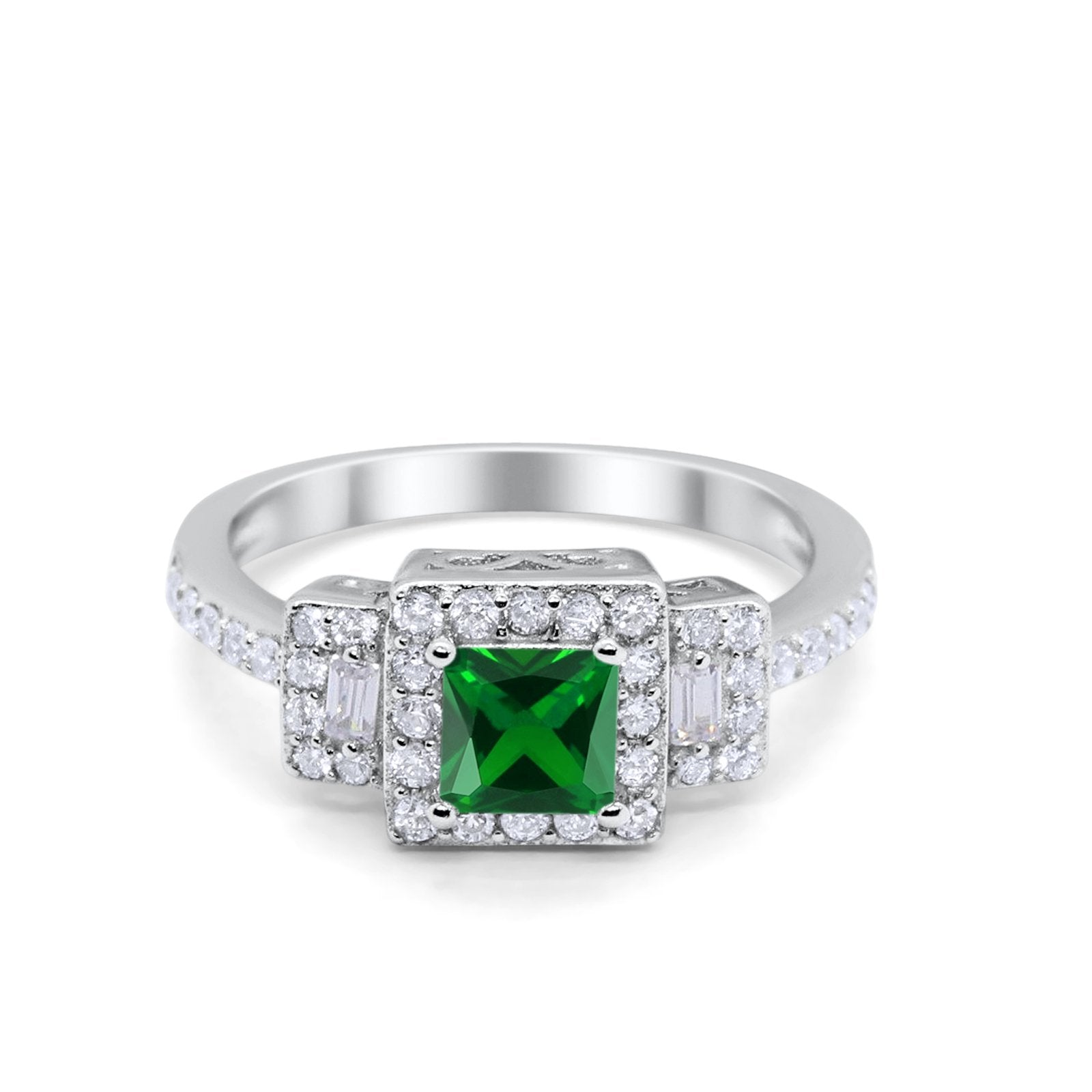Halo Wedding Engagement Ring Round Baguette Simulated Green Emerald CZ 925 Sterling Silver