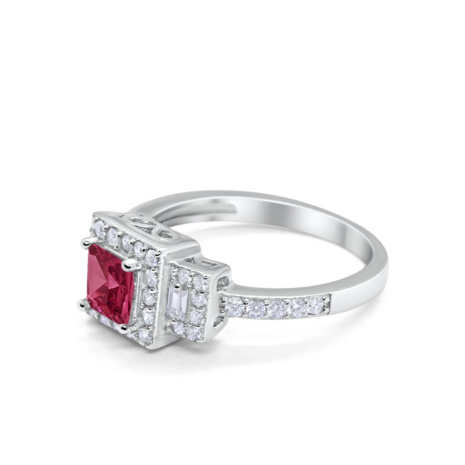 Halo Wedding Engagement Ring Round Baguette Simulated Ruby CZ 925 Sterling Silver