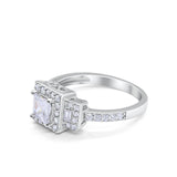 Halo Wedding Engagement Ring Round Baguette Cubic Zirconia 925 Sterling Silver