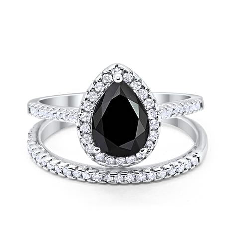 Teardrop Pear Bridal Set Engagement Ring Simulated Black Cubic Zirconia 925 Sterling Silver