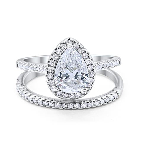 Teardrop Pear Bridal Set Engagement Ring Simulated Cubic Zirconia 925 Sterling Silver