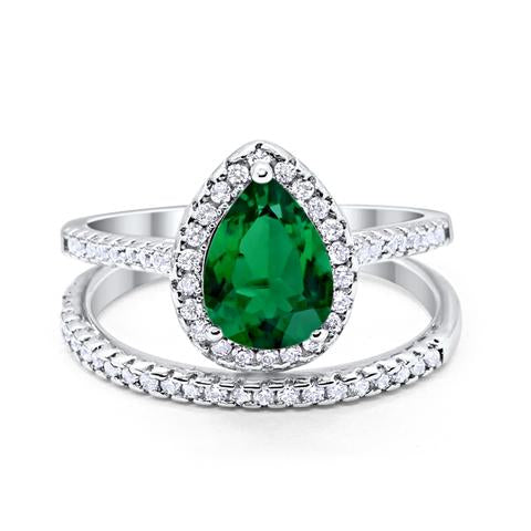 Teardrop Pear Bridal Set Engagement Ring Simulated Green Emerald Cubic Zirconia 925 Sterling Silver