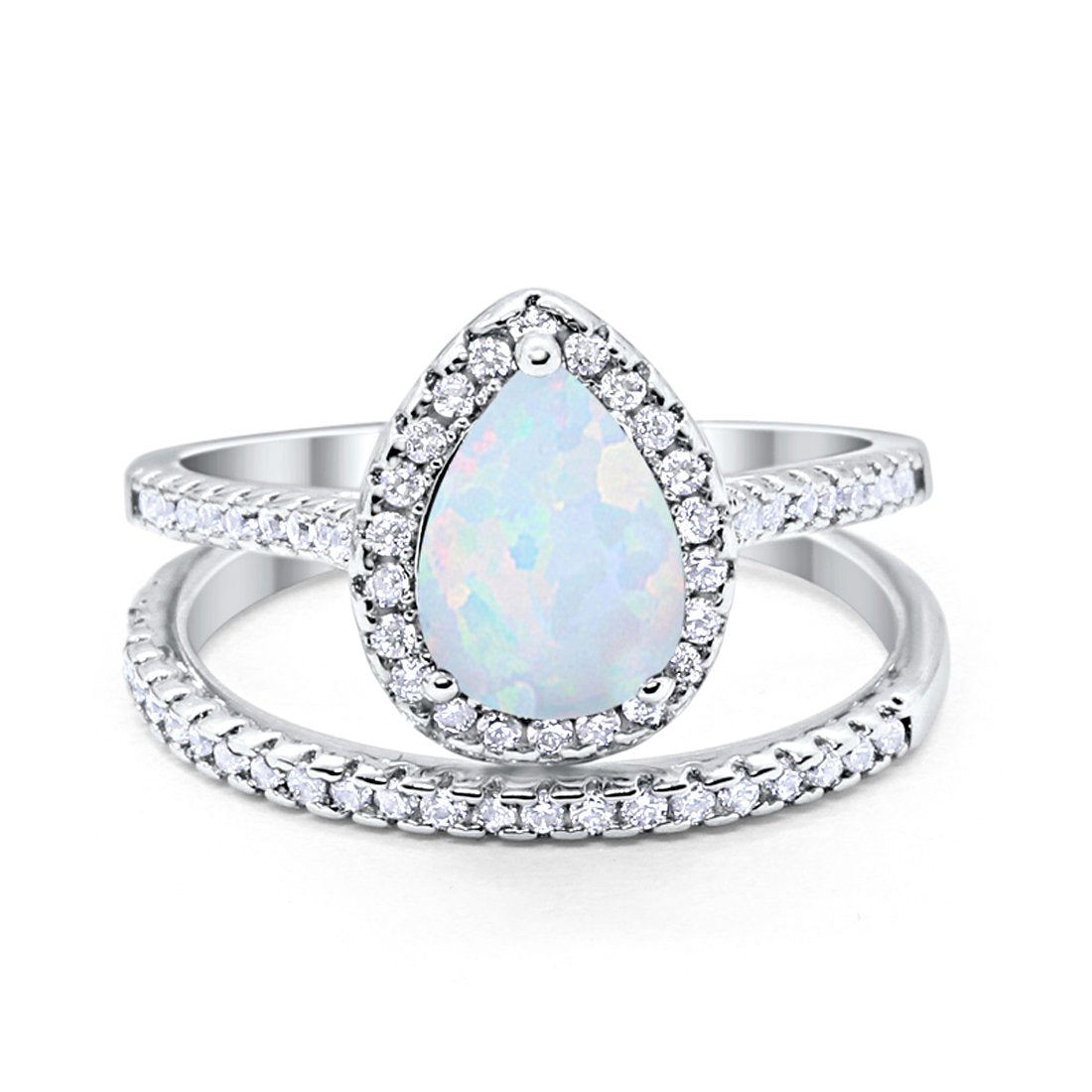 Teardrop Bridal Engagement Ring Lab Created White Opal 925 Sterling Silver