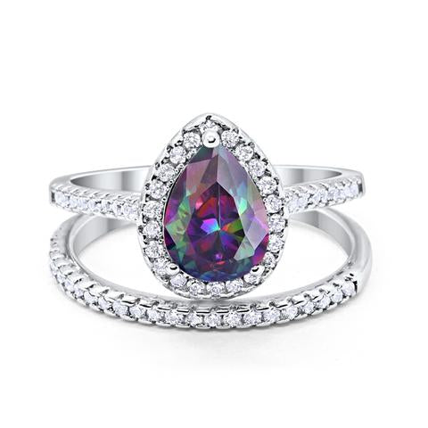 Teardrop Bridal Engagement Ring Simulated Rainbow Cubic Zirconia 925 Sterling Silver