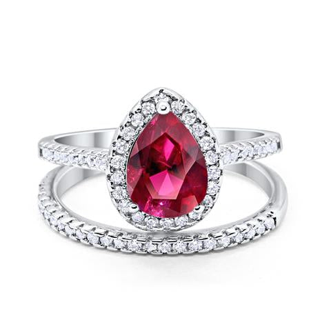 Teardrop Bridal Engagement Ring Simulated Ruby Cubic Zirconia 925 Sterling Silver