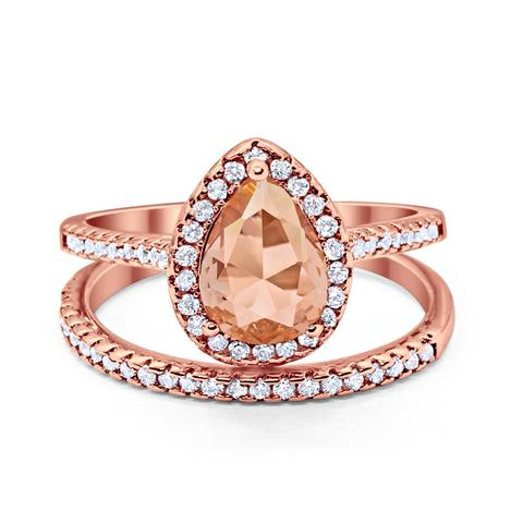 Teardrop Bridal Engagement Ring Rose Tone, Simulated Morganite Cubic Zirconia 925 Sterling Silver