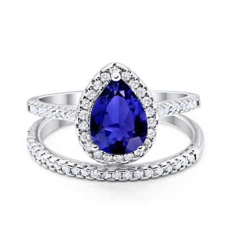 Teardrop Bridal Engagement Ring Simulated Blue Sapphire Cubic Zirconia 925 Sterling Silver