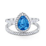 Teardrop Bridal Engagement Ring Simulated Blue Topaz CZ 925 Sterling Silver