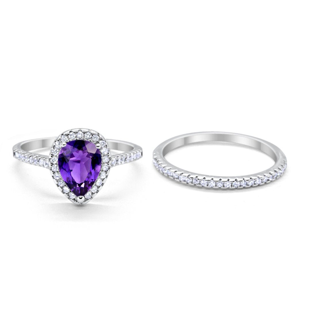 Teardrop Pear Bridal Set Engagement Ring Simulated Amethyst CZ 925 Sterling Silver