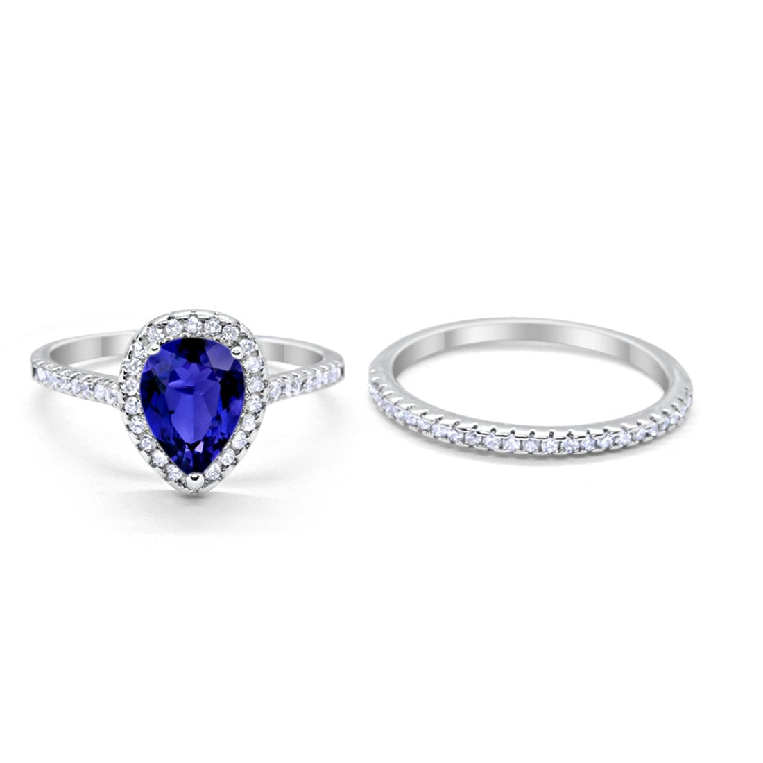 Teardrop Bridal Engagement Ring Simulated Blue Sapphire CZ 925 Sterling Silver